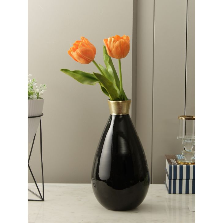 Eden Bamboo Vase in Black Gold Colour by HomeTown