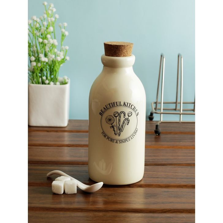 Beautiful Kitchen Ceramic Milk Bottle 500 Ml in White Colour by Living Essence