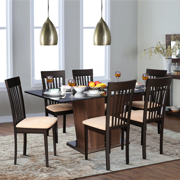Cadillac Bentley Six Seater Dining Set in Black Colour by HomeTown