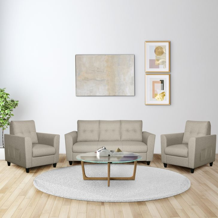 Paula Fabric Three Seater + Single Seater + Single Seater Sofa Set in Beige Colour by HomeTown