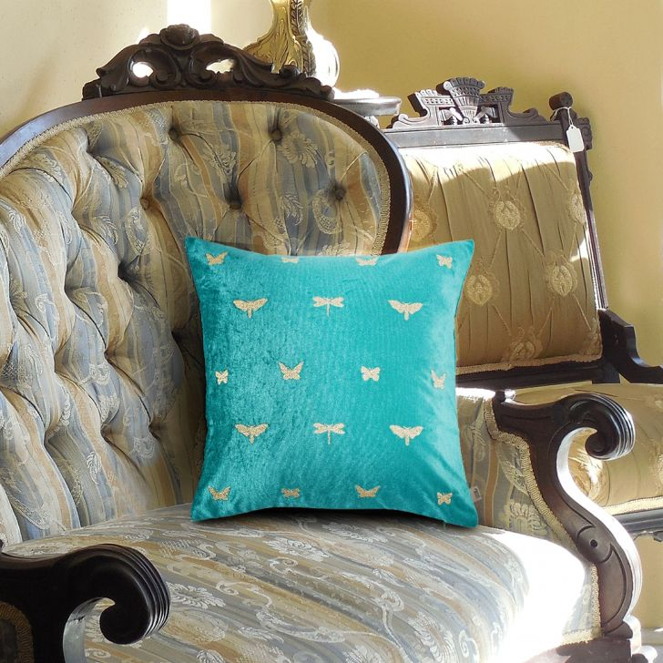 Butterfly Cotton Cushion Covers in Emerald Colour by Living Essence