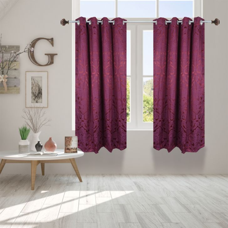 Premium Jacquard Polyester Window Curtain in Maroon Colour by Dreamline