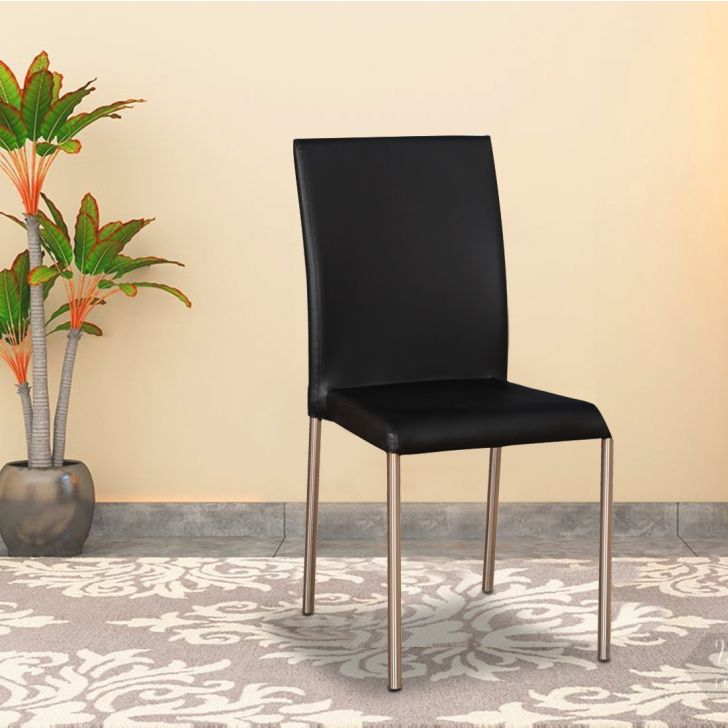 Vento Metal Dining Chair Set of 4 in Black Colour