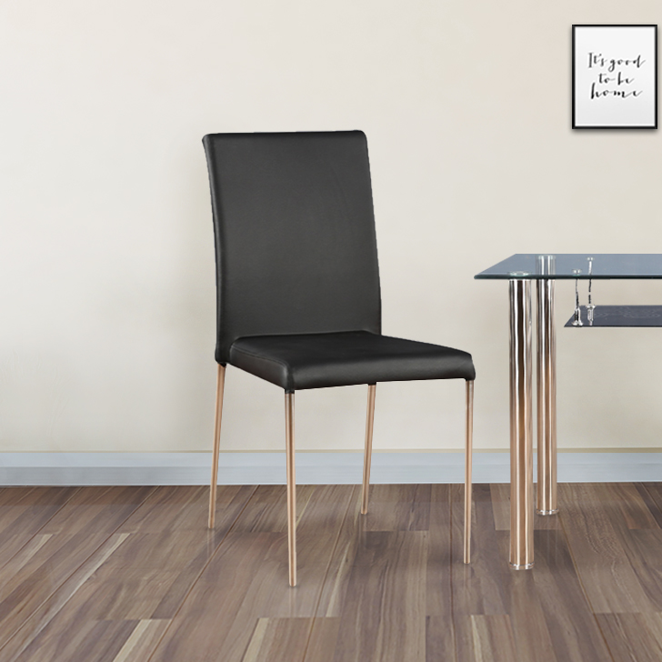 Vento Metal Dining Chair Set of Four in Black Colour by HomeTown