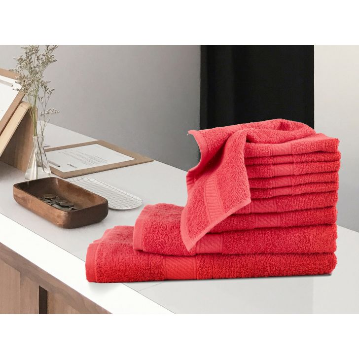 Set of 10 (1 Bath 1 Lady 2 Hand 6 Face towels) Cotton Towel Sets in Red Colour by Living Essence