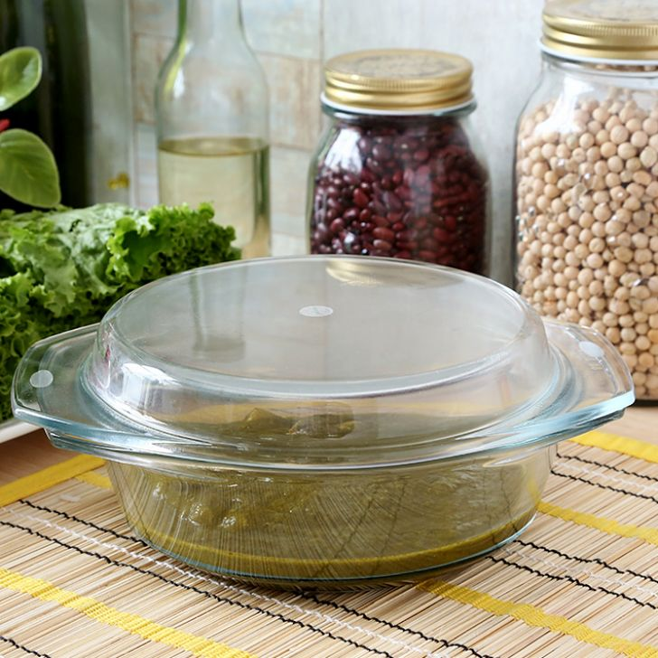 Borosil Casserole With Lid (1 Ltr) Glass Bakeware Sets in Transparent Colour by Borosil