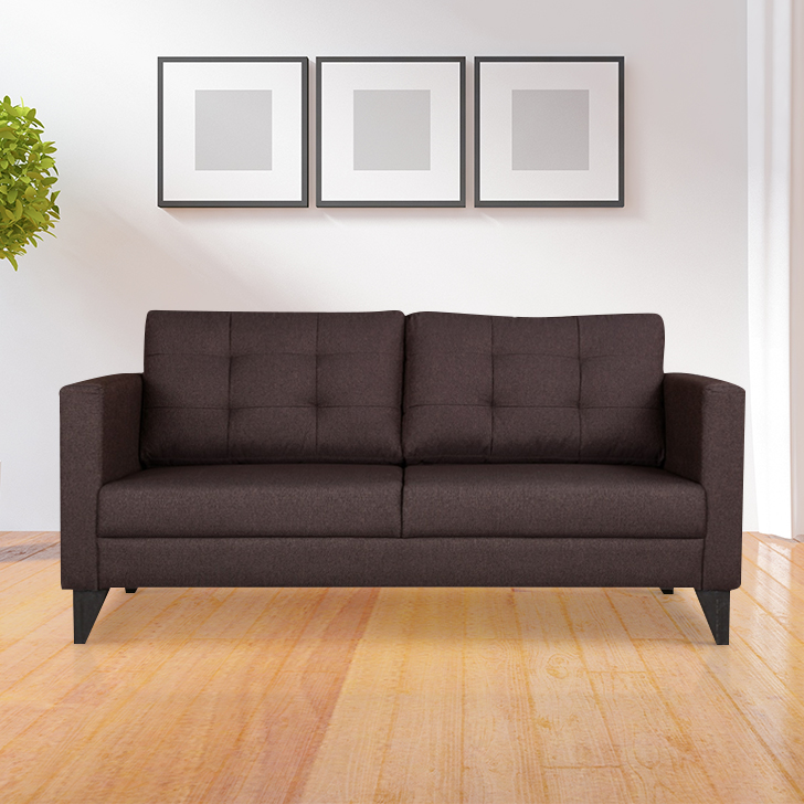 Castellar Fabric Three Seater sofa in Brown Colour by HomeTown