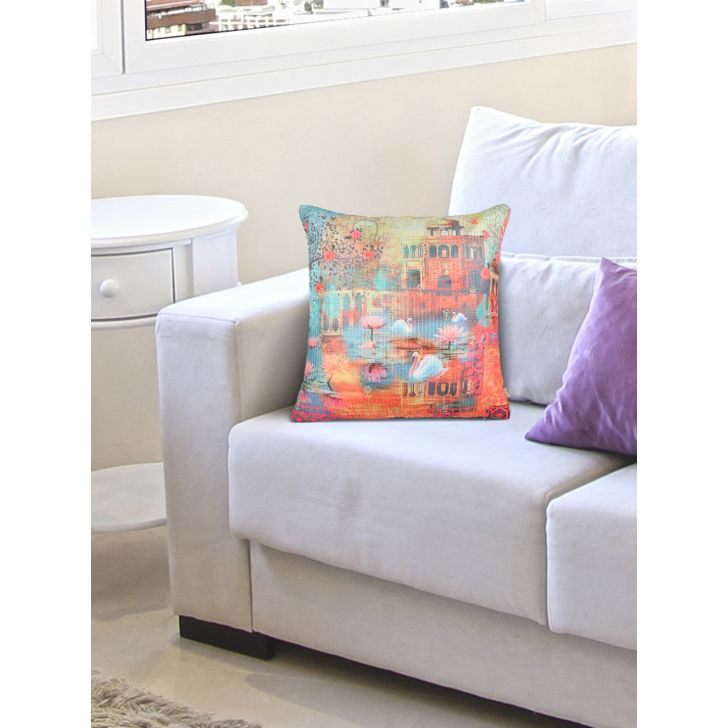 Digi Swan Cotton Cushion Covers in Multi Colour by Living Essence