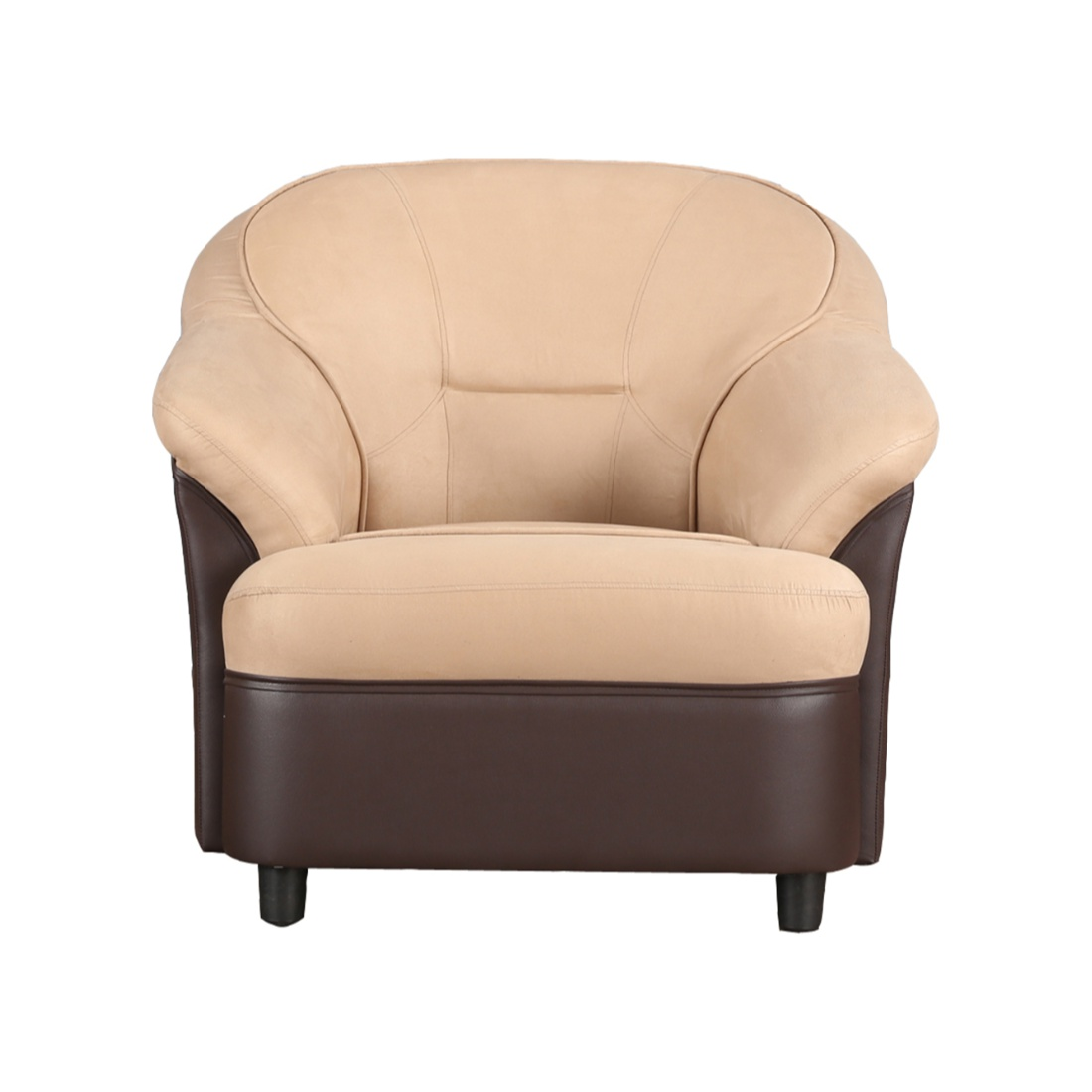 Lamia Fabric Single Seater sofa in Brown Colour by HomeTown