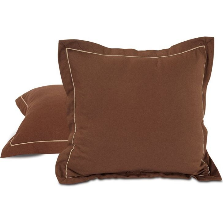 Solid Duck Fabric Cushion Cover 60X60 CM in Brown Colour by Swayam
