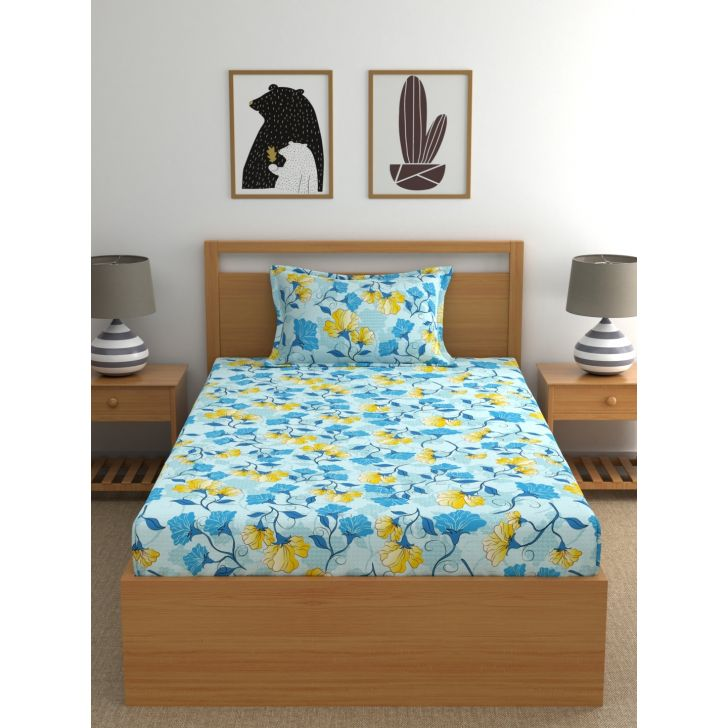 Candy Floss Cotton Single Bedsheet 147 x 220cms in Blue Colour