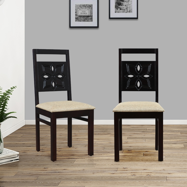 Flora Solid Wood Dining Chair Set of Two in Walnut Colour by HomeTown
