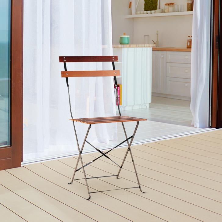 Desio Stainless steel Folding Chair in Brown Colour by HomeTown