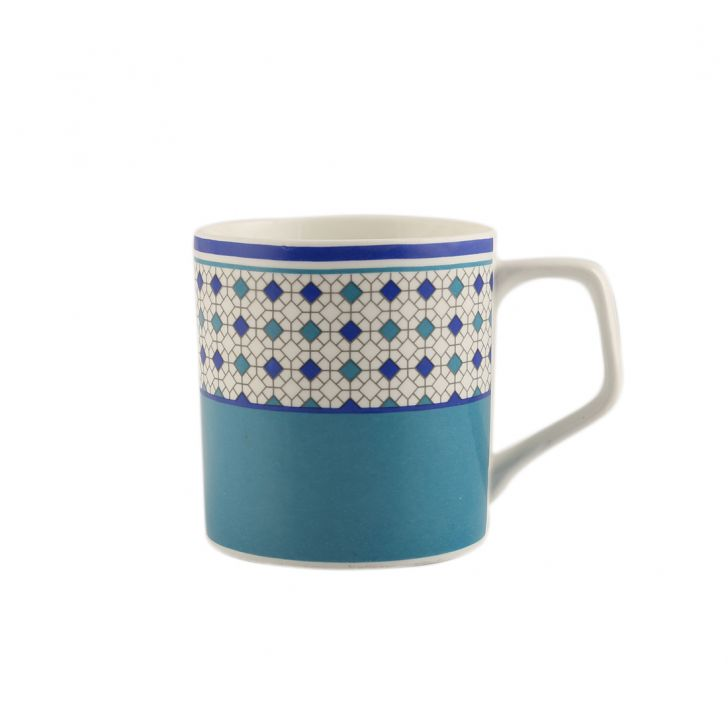 Panache Set Of 6 Tea Mugs Ceramic Tea Mugs in Blue And White Colour by Living Essence