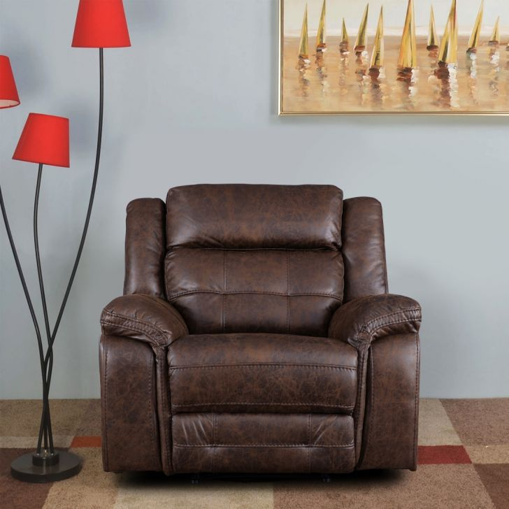 Zurich Solid Wood Single Seater Recliner in Brown Colour by HomeTown