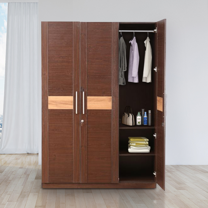 Magnum Engineered Wood Three Door Wardrobe in Vermount Colour by HomeTown