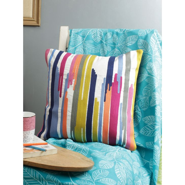 Living Essence Cotton Cushion Cover in Multicolour Colour by Living Essence