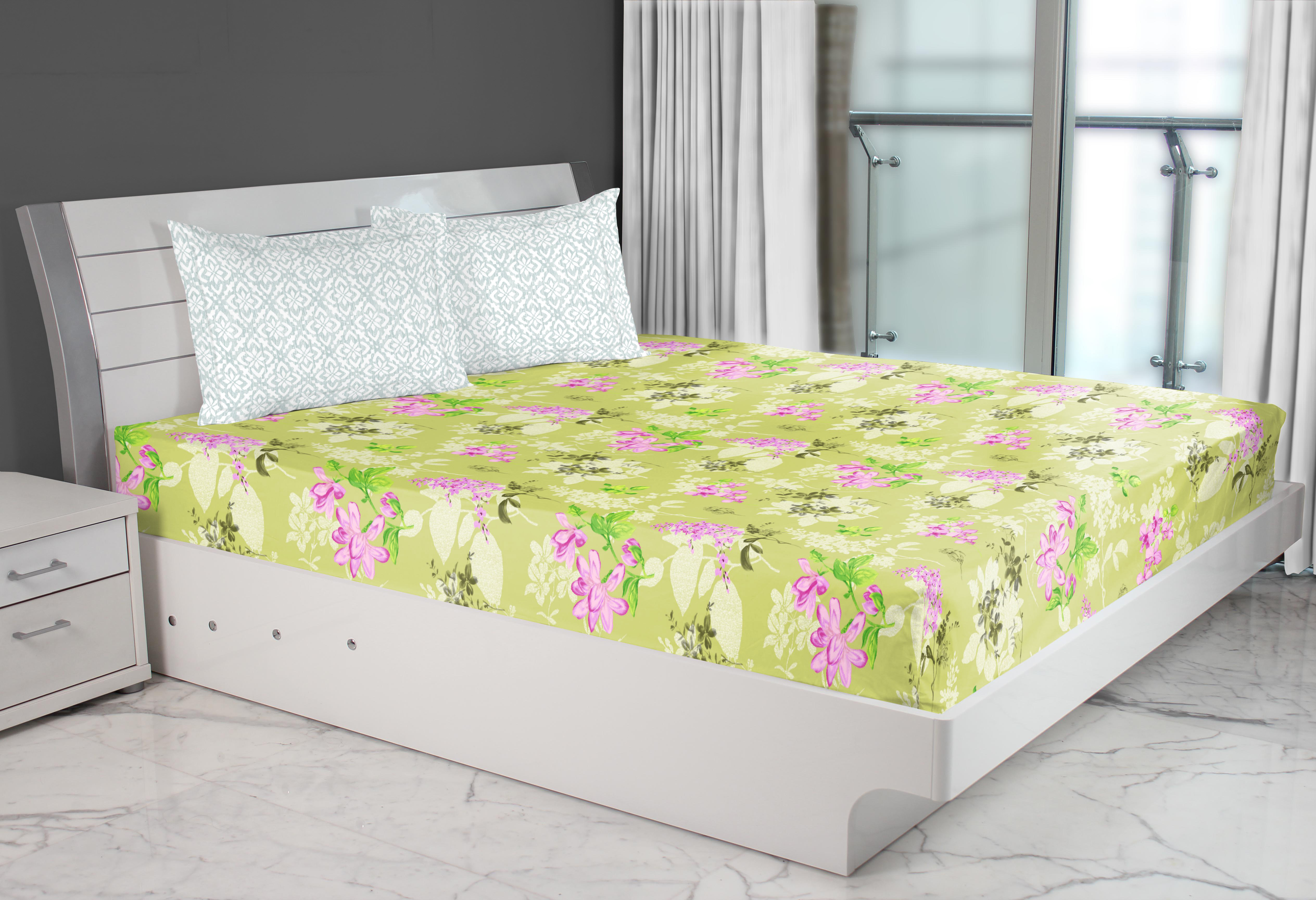 Emilia Cotton Double Bed Sheets in Lime Colour by Living Essence