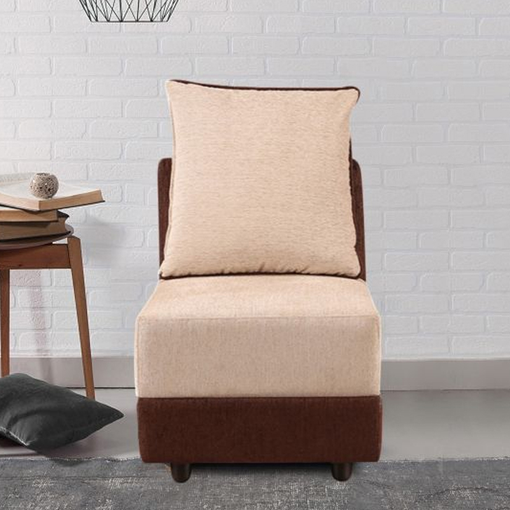 Stuart Fabric Single Seater Sofa in Beige & Brown Colour by HomeTown