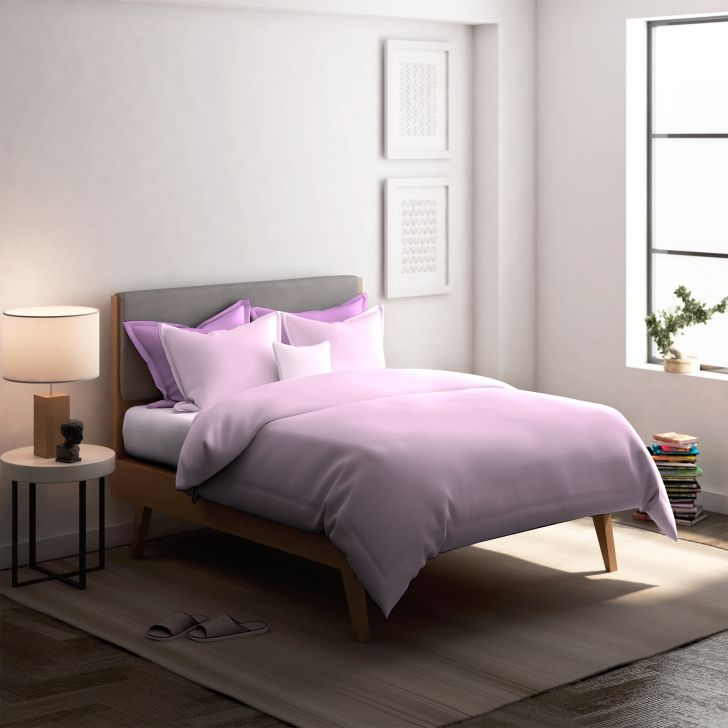 Solid Cotton Double Bedsheet in Purple Colour by Dreamline