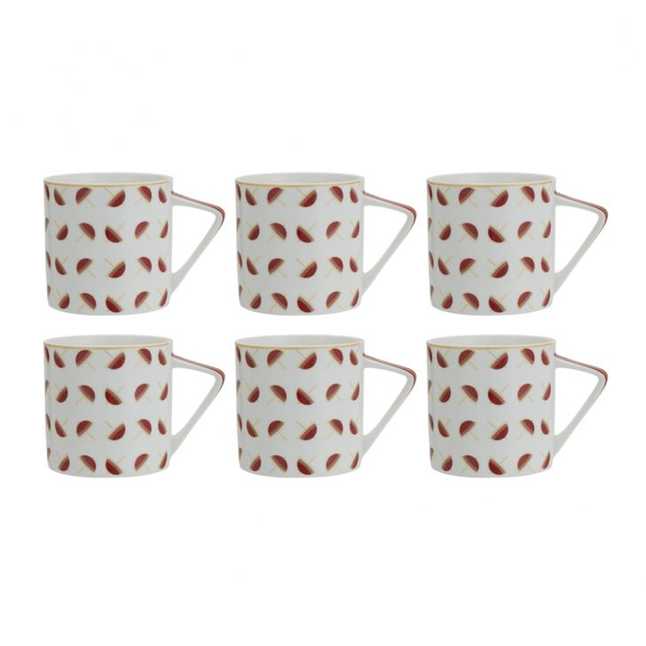 Uatav Set Of 6 Tea Mugs Ceramic Tea Mugs in Multi Color Colour by Living Essence