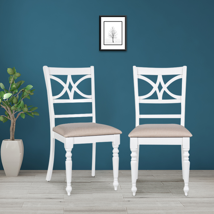Evelyn Rubber Wood Dining Chair Set of Two in White Colour by HomeTown