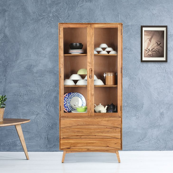 Nordland Acacia Wood Crockery Cabinet in Walnut Brown Colour by HomeTown
