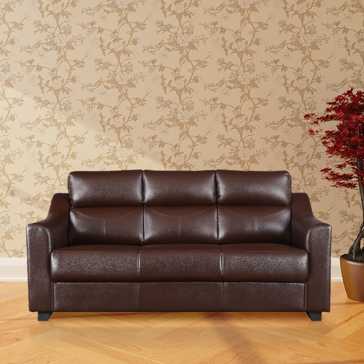 Alfred Three Seater Sofa in Brown Colour by HomeTown