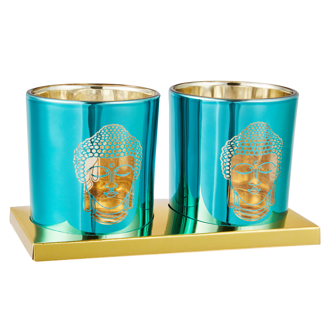 Zahara Small Set Of Two Blue Candle Holder With Etched Buddha Face Metal Candle Holders in Blue Colour by Living Essence