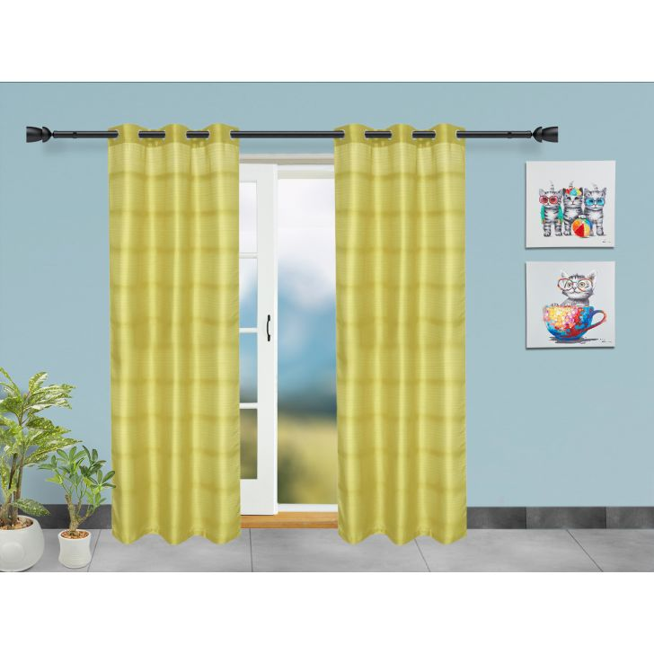 Set of 2 Polyester Door Curtains in Citron Colour by Living Essence