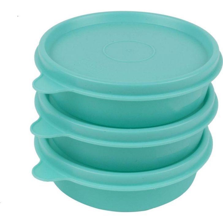Magic Seal Round Green Set Of 3 Plastic Containers in Green Colour by Polyset