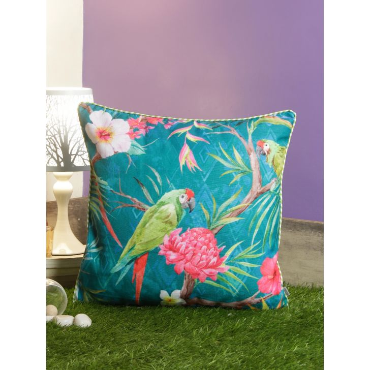 Digi Parrot Polyester Cushion Covers in Multi Colour by Living Essence