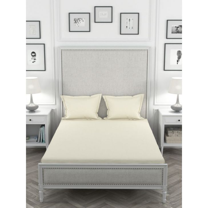 Percale Cotton Double Bed Sheet 220X254 CM in Ivory Colour