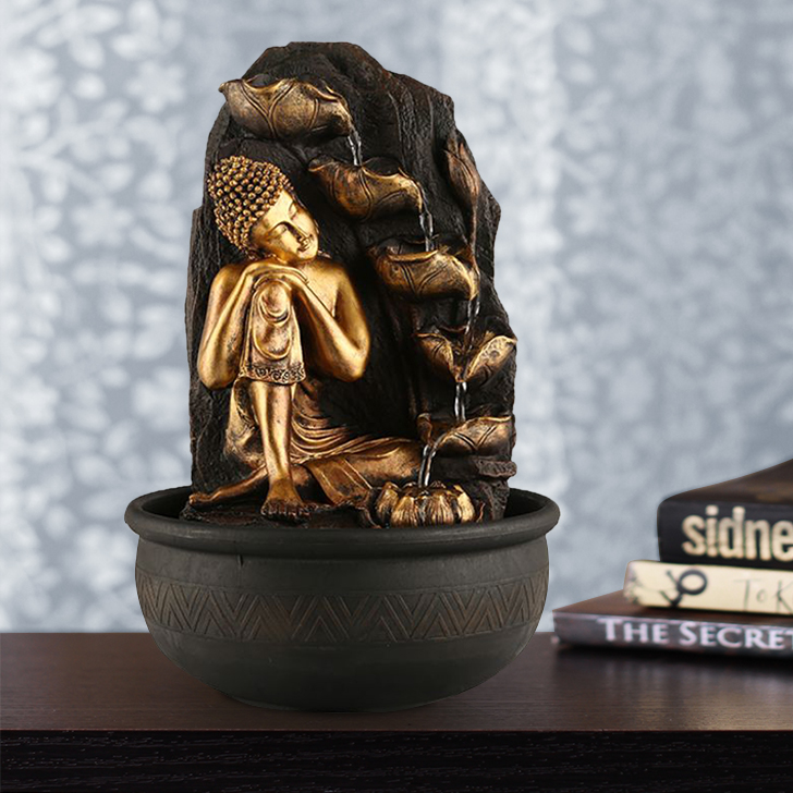 Impression Buddha 1-Sided Polyresin Small Fountains in Brown/Gold Colour by Living Essence