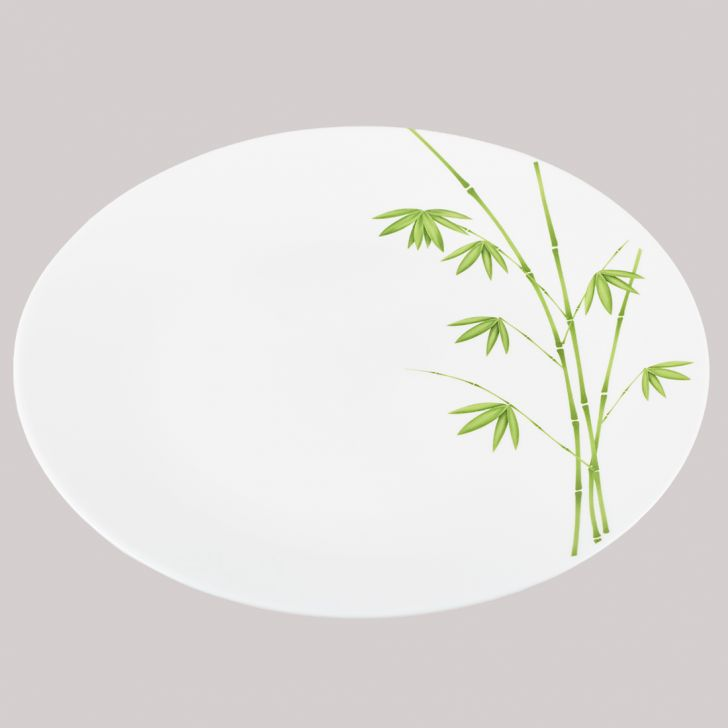 Diva Ivory Full Plate Green Foliage Glass Plates in White Colour by Diva