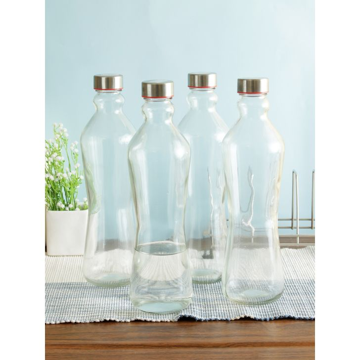 Clear Glass 1 Ltr Bottle Set Of 4 in Transparent Colour by Living Essence