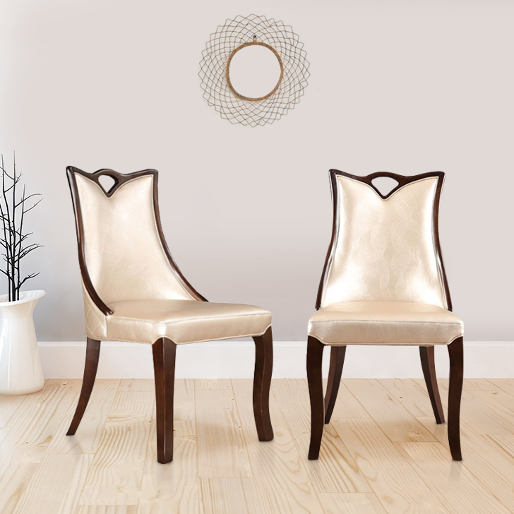 Alexanderia Solid Wood Dining Chair Set of Two in Beige Colour by HomeTown