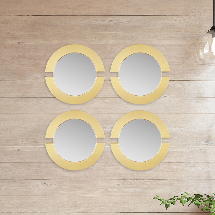 Mirage Circle Cut Set Of Four Gold Mirror Wall Accents in Gold Colour by Living Essence