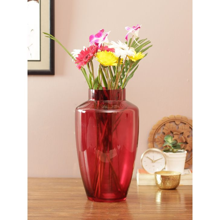 Eva Modern Tall Glass Vase Red Glass Vases in Red Colour by Living Essence