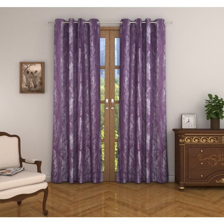 Amour Jacquard Set of 2 Door Curtain in Wine Colour
