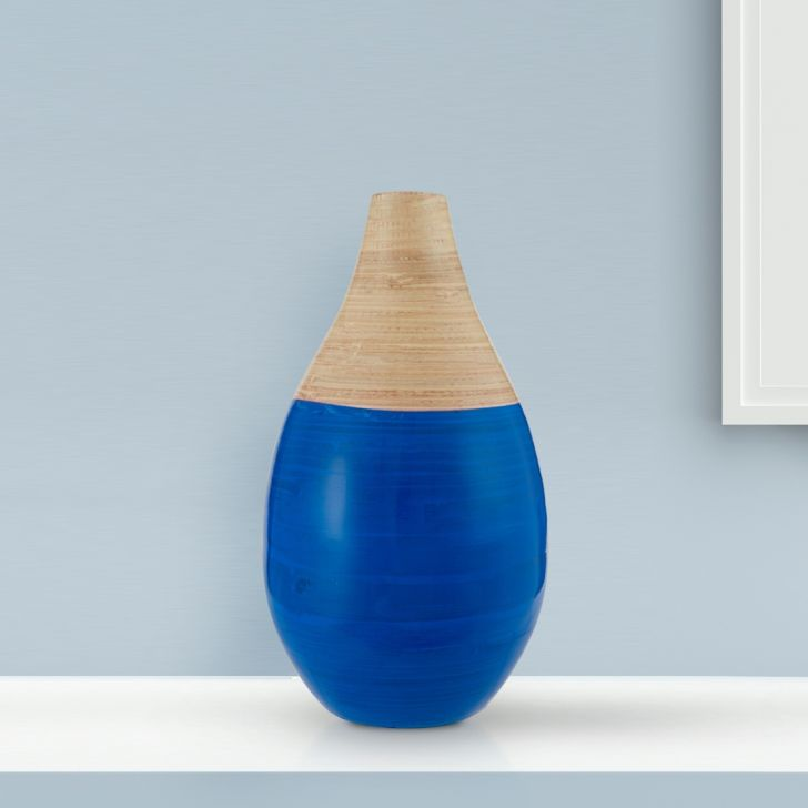 Bamboo Curved Vase 31Cm Ultra Marine Bamboo Vases in Ultra Colour by Living Essence