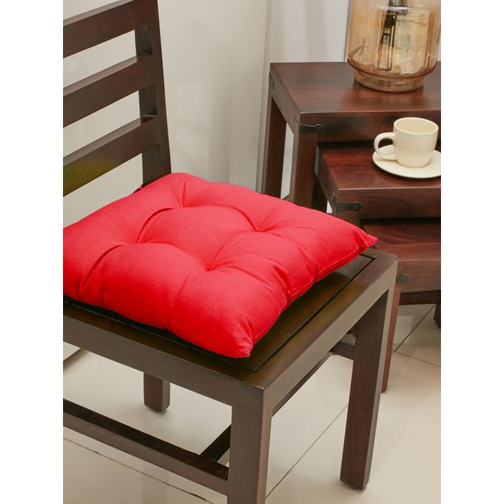 . Velvet Chair Pads in Red Colour by Living Essence