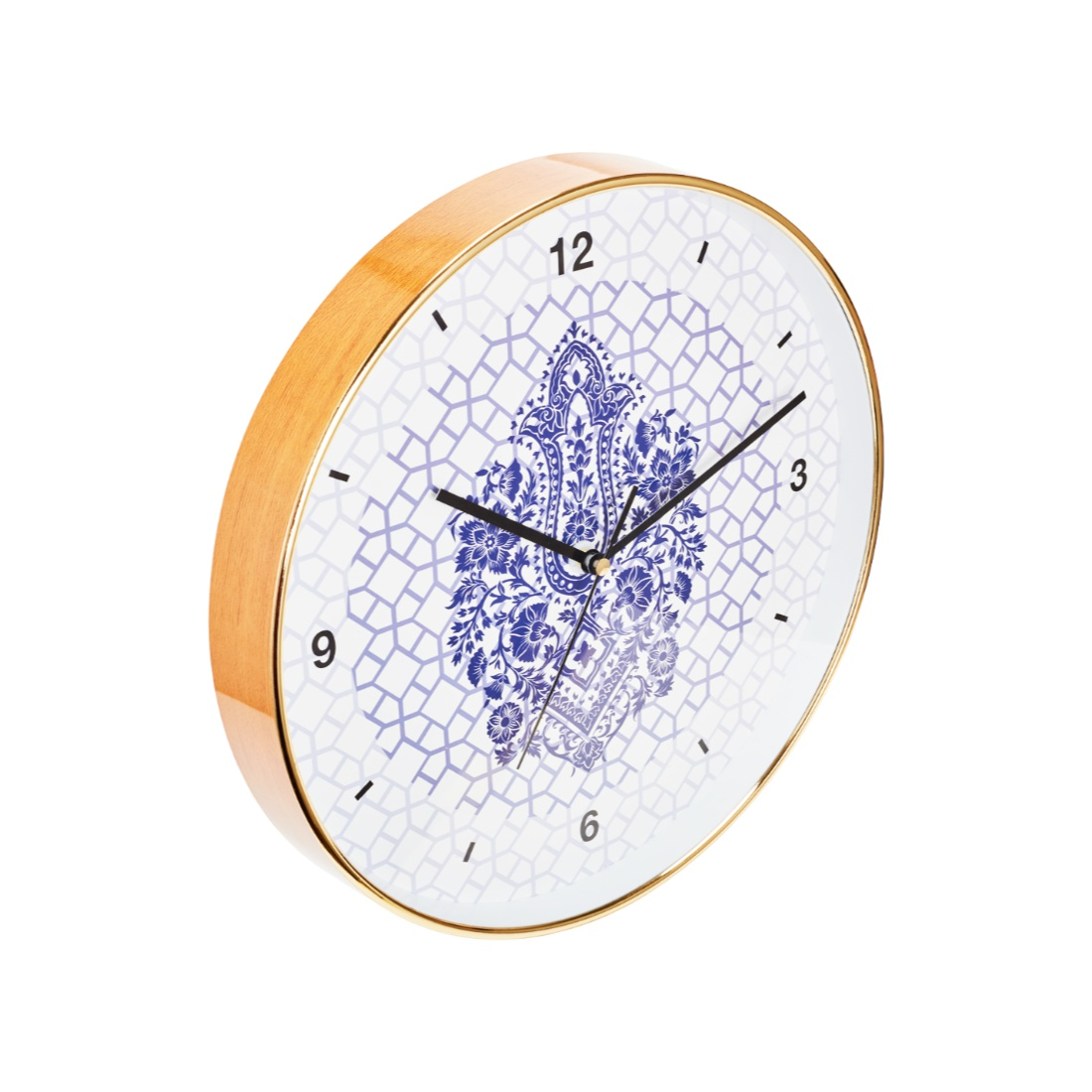 Aika Eclectic Folk Ethnic Diamond Motive Clock Plastic Modern Clocks in Pink & Blue Colour by Living Essence