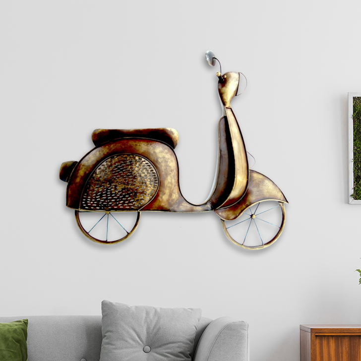 W-RETRO SCOOTER Iron Large Wall Accents in Mettalic Brown Colour by Royce