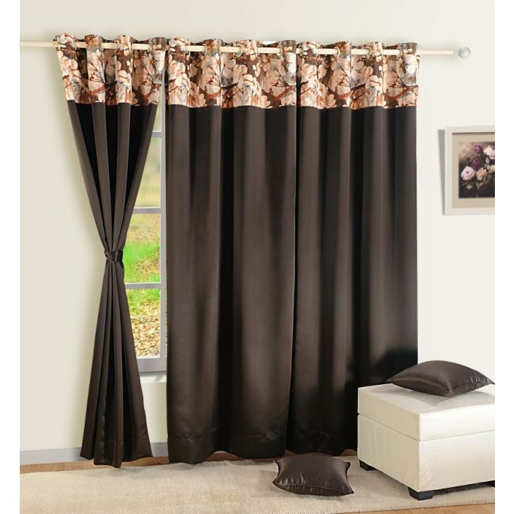 Solid Blackout Window Curtain In Chocolate Color By Swayam