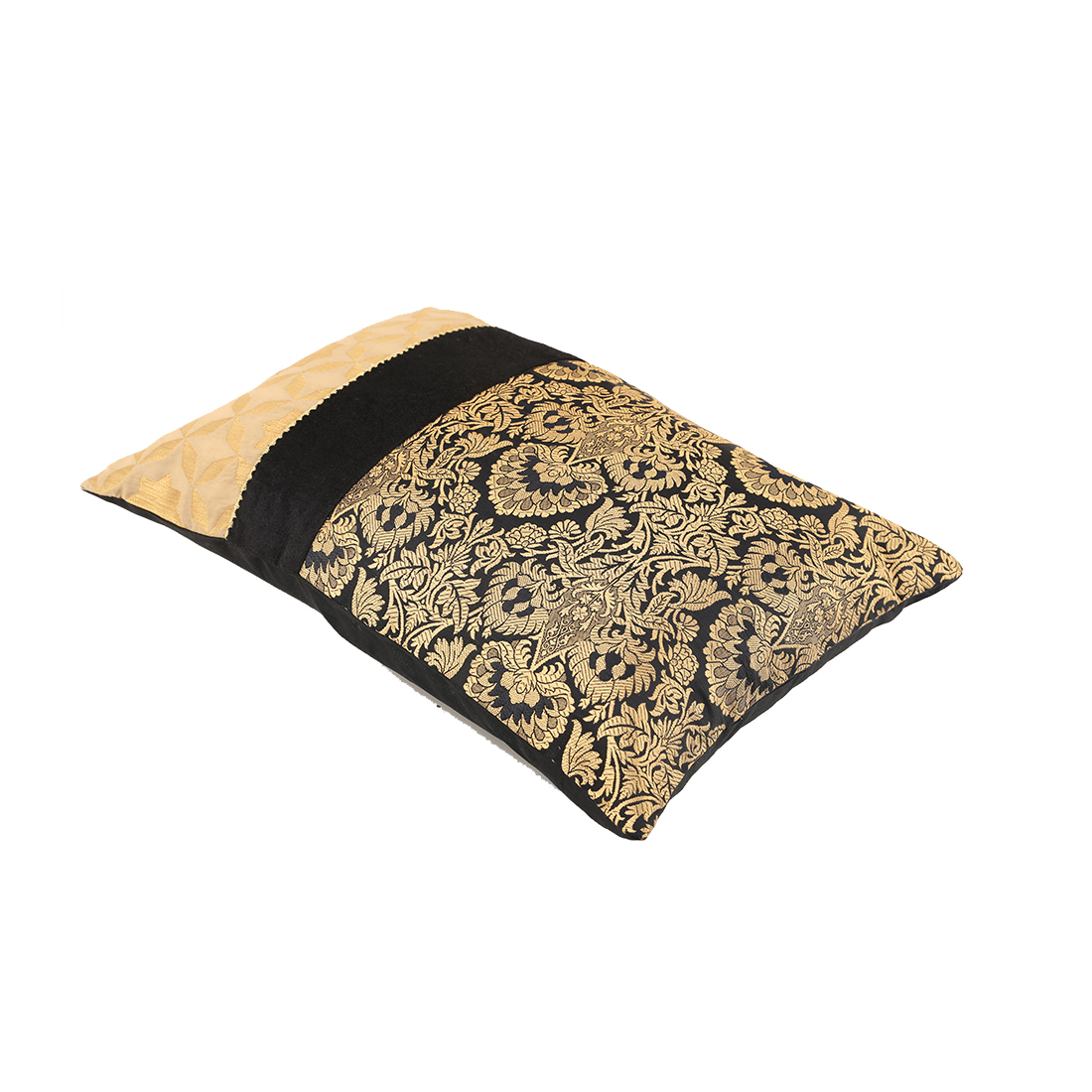 Royale Patch Black Gold Polyester Cushion Covers in Black Gold Colour by Living Essence