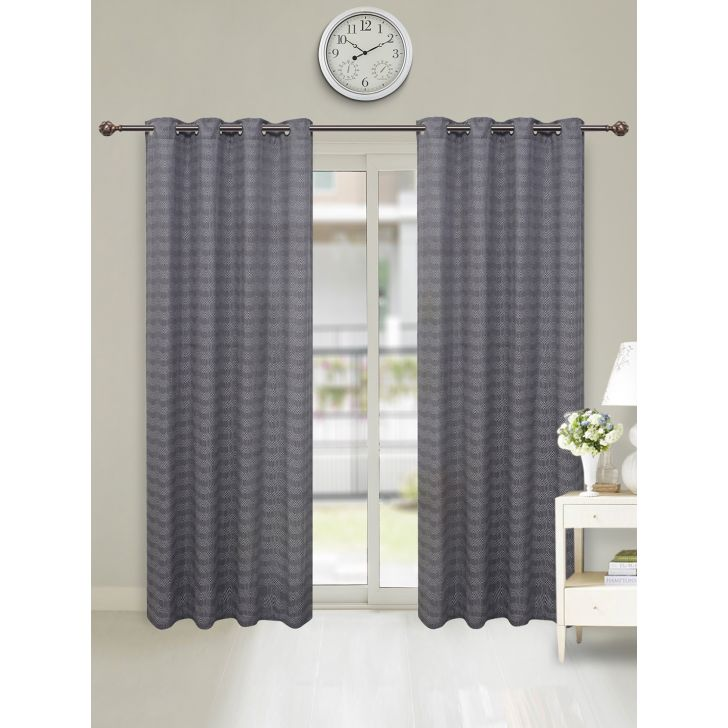 Fiesta Jacquard Set of 2 Cotton Door Curtains in Charcoal Colour by Living Essence