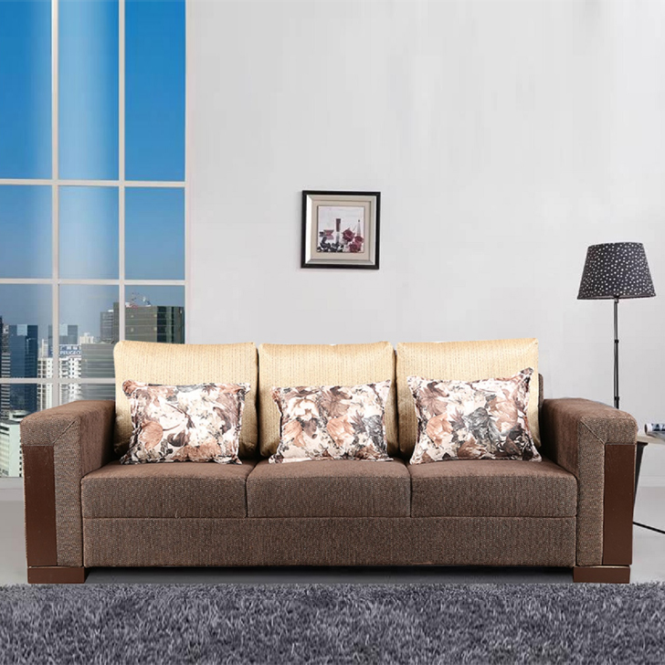 Amazon Fabric Three Seater sofa in Brown Colour by HomeTown