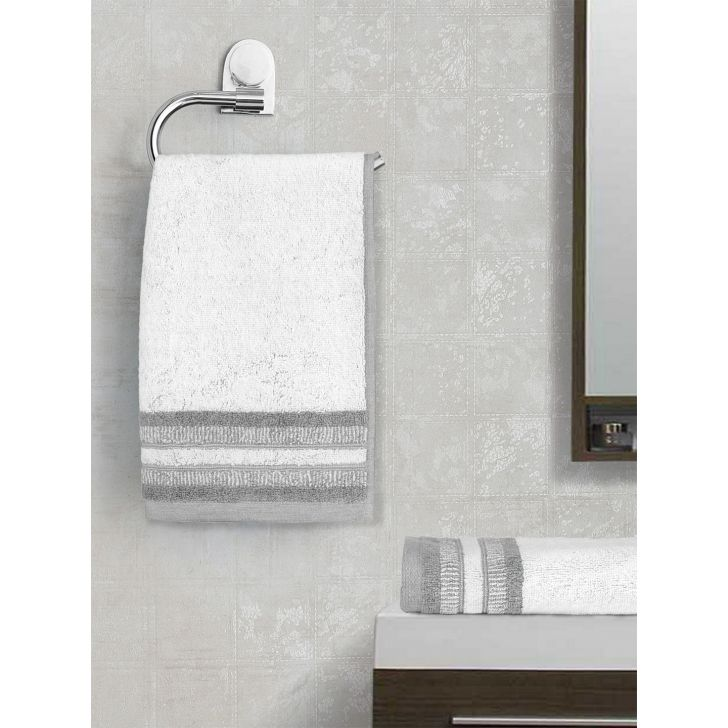 Spaces Cotton Hand Towel in White Colour