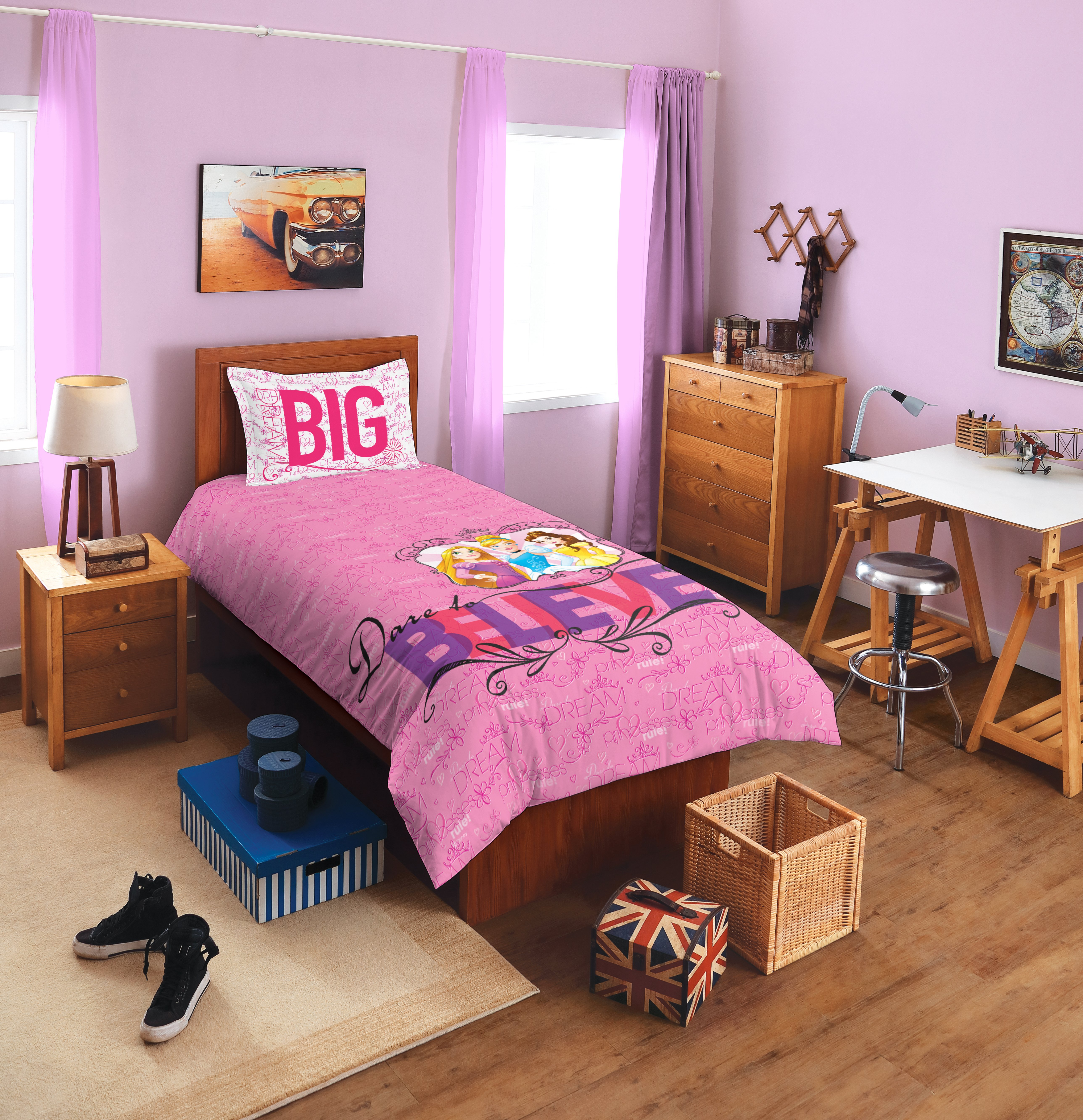 Spaces Disney Princess Pink Single Sheet With 1 Cotton Single Bed Sheets in Pink Colour by Spaces